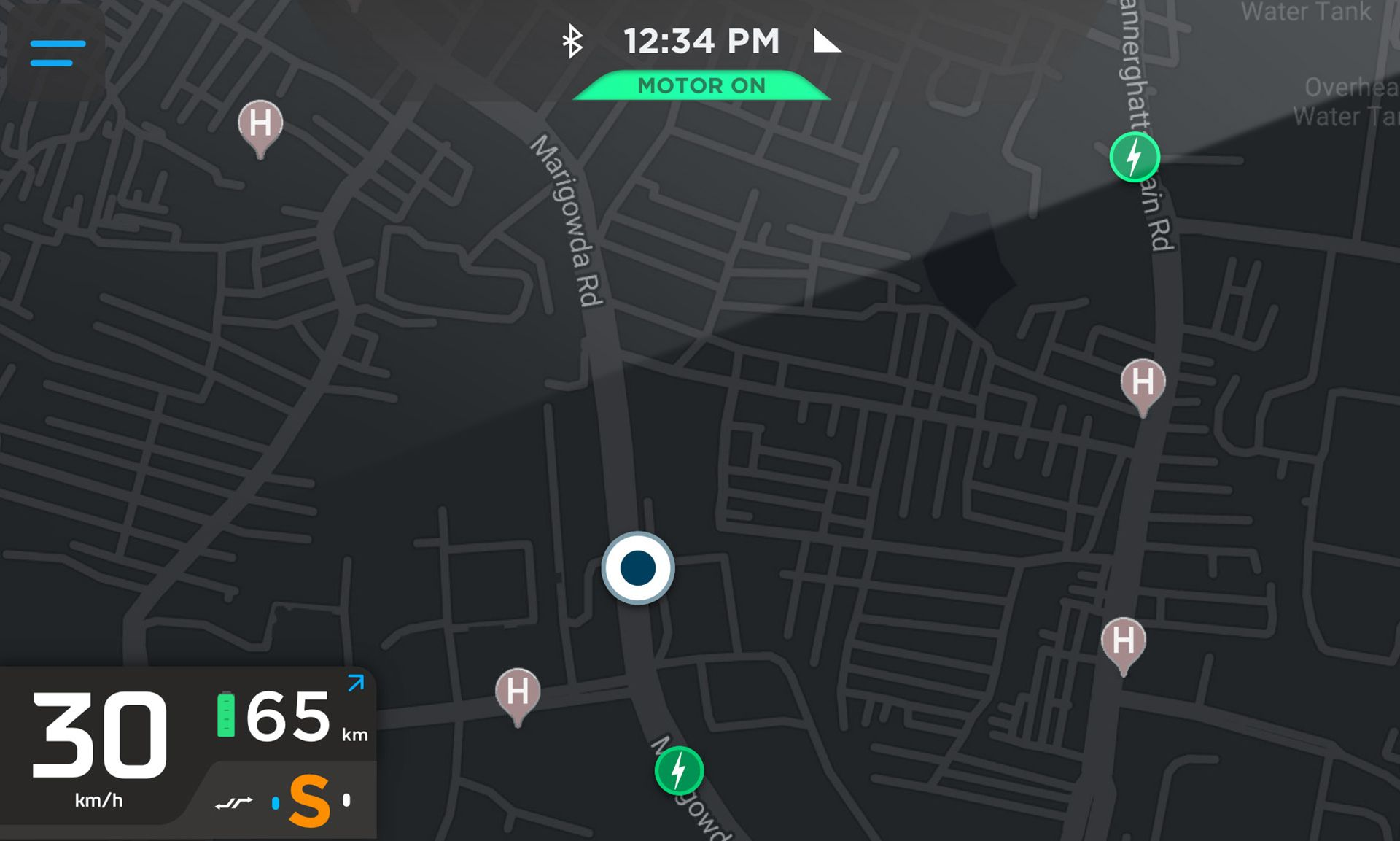 Ather 450 and ather 450x google navigation map on smart dashboard